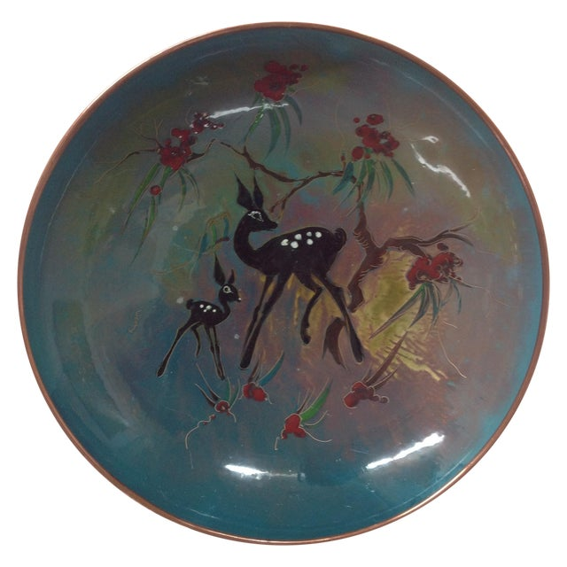 Mid-Century Enameled Copper Charger For Sale