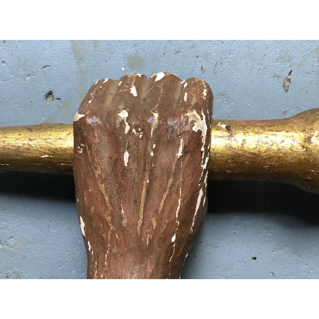 Late 19th Century Italian Wooden Carved and Gilded Hand Sconce For Sale - Image 5 of 12
