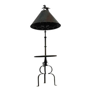 Wrought Iron Western Cowboy Horse Motif Floor Lamp With Metal Shade For Sale