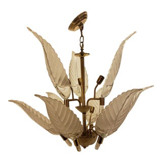 Murano Glass & Brass Italian Leaf Chandelier For Sale
