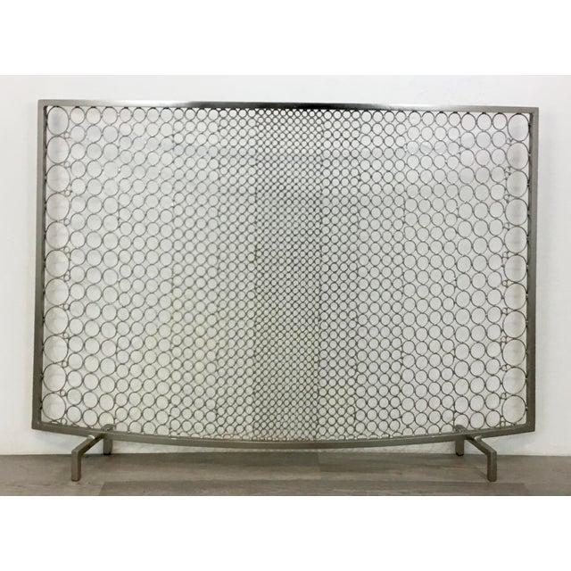 Modern Geometric Polished Nickel Fireplace Screen Chairish
