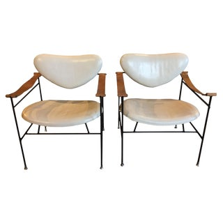 Pair of Metal Side Chairs For Sale