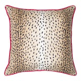 Image of Contemporary Animal Print and Lime Green Pillow For Sale
