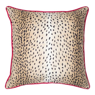 Contemporary Animal Print and Lime Green Pillow For Sale