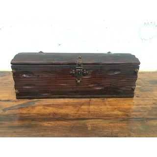 Small Antique Oak Table Trunk - Box From Spain, 18th Century Preview
