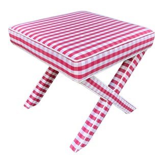 Vintage French Country Red Check Fully Upholstered X Bench For Sale