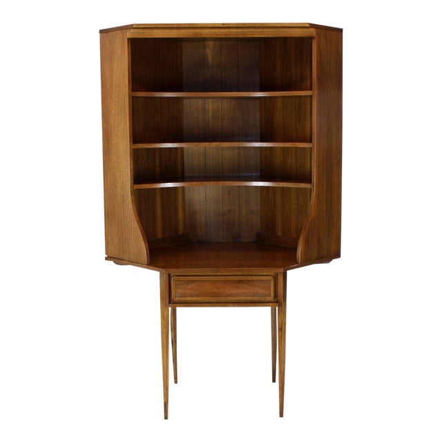 Mid-century modern walnut two piece corner desk bookcase hutch. Good utilitarian size bookcase using small corner space.