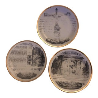 "Piero Fornasetti ""Glory of Italian Cookery"" Dinner Plates - Set of 3 For Sale"
