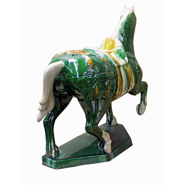 Chinese Green & White Ceramic Marching Horse Figure - Image 4 of 5