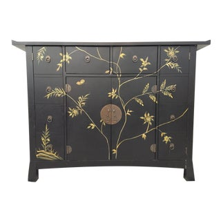 Mid Century Asian Hand Painted Server Credenza For Sale