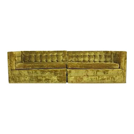 Mid-Century Crushed Gold Velvet Sectional For Sale
