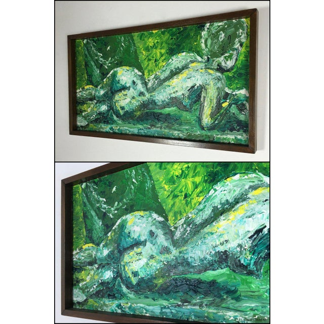 Awesome impressionist female nude oil painting in tonal shades of green and white. Signed on front, lower right. Dated &...