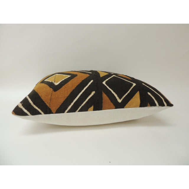 African Vintage Graphic African Artisanal Textile Mud Cloth Decorative Bolster Pillow For Sale - Image 3 of 5