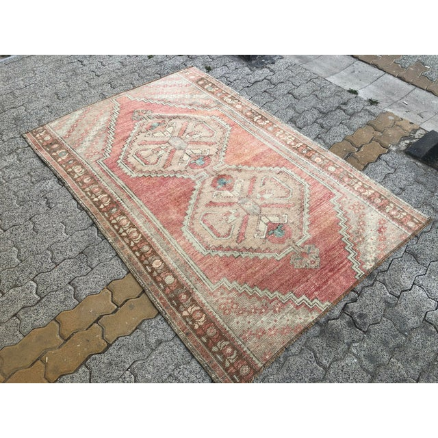 Oushak Handmade Distressed Antique Floor Carpet For Sale - Image 4 of 11