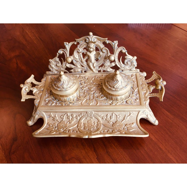Vintage Brass Double Inkwell For Sale In New York - Image 6 of 6