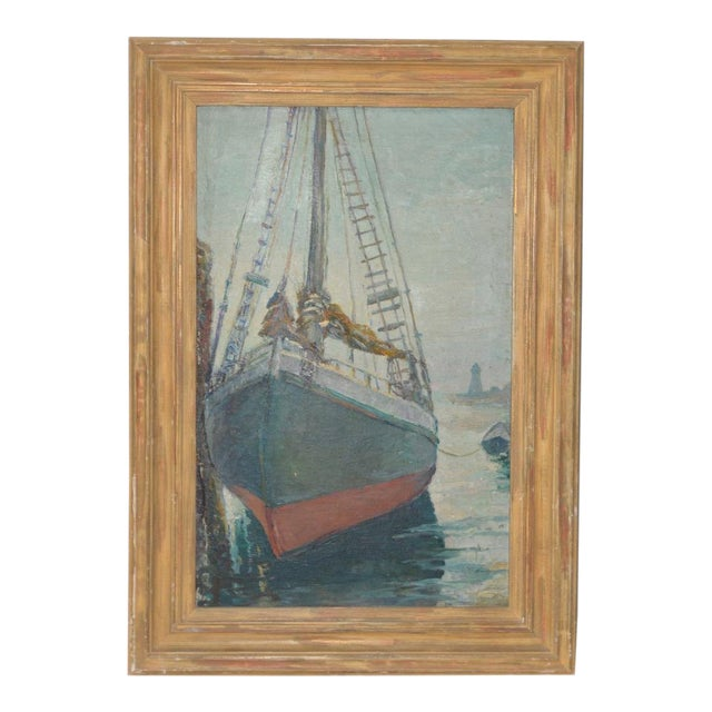 """Unidentified Impressionist """"Starboard Bow at Harbor"""" Oil Painting C.1940s For Sale - Image 9 of 9"""