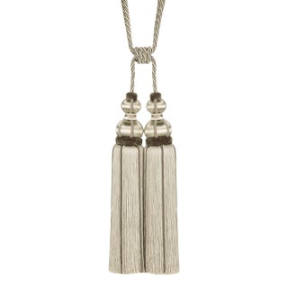 "Taupe Double Tassel Tieback With Cut Ruche- Height 17"" For Sale"