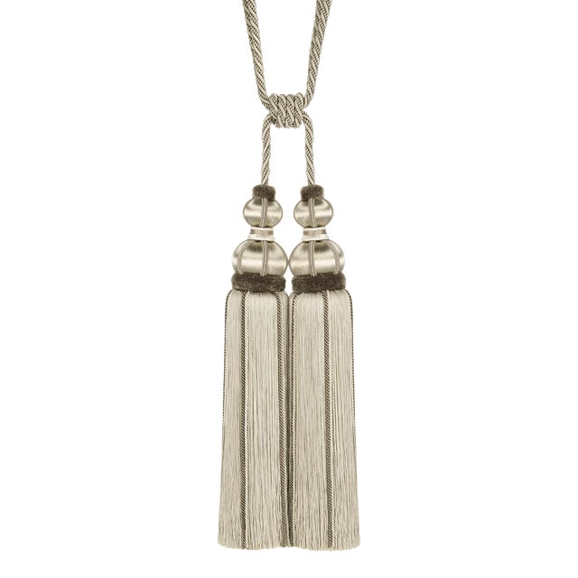 """Taupe Double Tassel Tieback With Cut Ruche- Height 17"""" For Sale"""