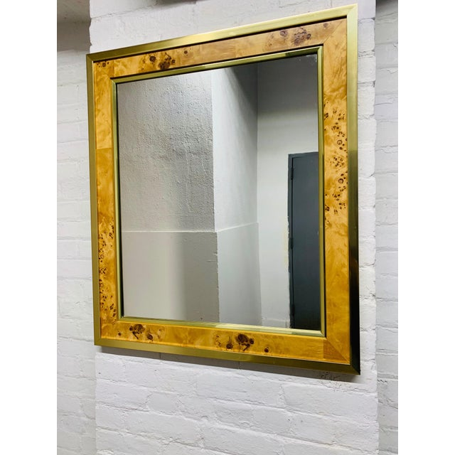 1960s Mid Century Modern Brass and Burl Wood Mirror For Sale - Image 5 of 5