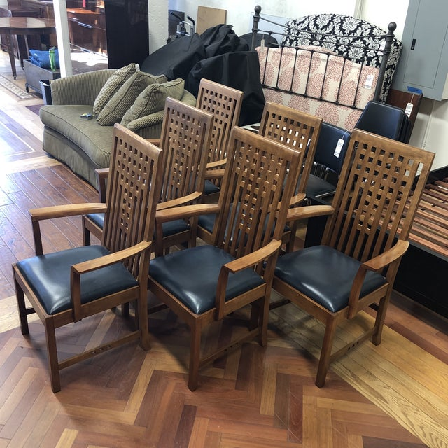 Arts & Crafts Stickley Furniture Metropolitan Collection Lattice Back + Leather Armchairs- Set of Six For Sale - Image 3 of 13