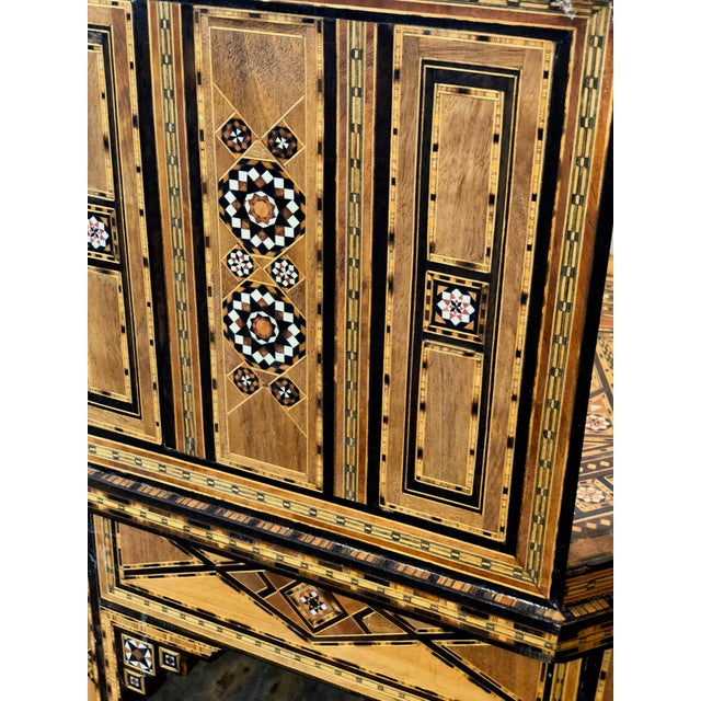 Wood 1940s Vintage Marquetry Vintage Hand Crafted Moorish Style Chair For Sale - Image 7 of 9