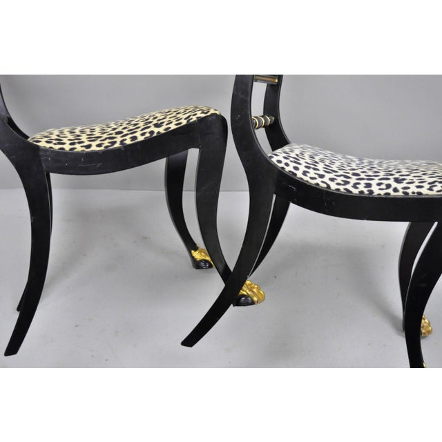 Black and Gold Regency Style Paw Feet Dining Chairs - Set of 6 For Sale - Image 9 of 12