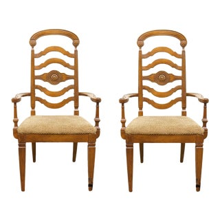Late 20th Century Thomasville Furniture Italian Provincial Tuscan Dining Arm Chairs - a Pair For Sale
