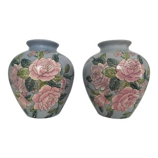 Vintage Hand Painted Pale Blue Floral Ginger Jars - a Pair For Sale