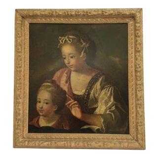 18th C. Painting of Mother and Child For Sale