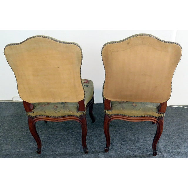 Brown Mid Century Louis XVI Style Side Chairs- A Pair For Sale - Image 8 of 10