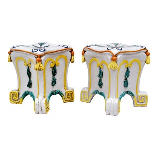 Midcentury Italian Majolica Terracotta Ceramic Garden Stools, Pair For Sale