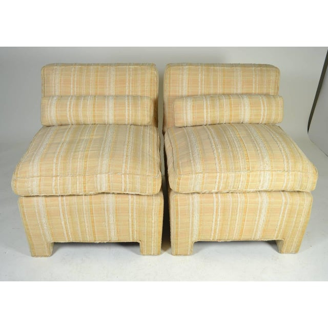 Pair of Modern Upholstered Slipper Chairs, circa 1960s For Sale - Image 4 of 10