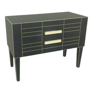 Chest of Drawers in Black Mirror with Ivory Glass Handle