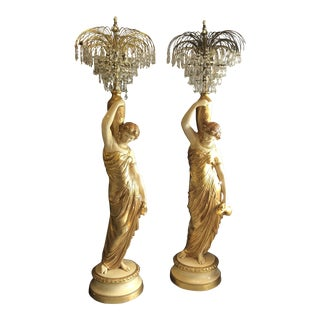 Vintage Tall Italian Ceramic Lady Crystal Floor Lamps - a Pair For Sale