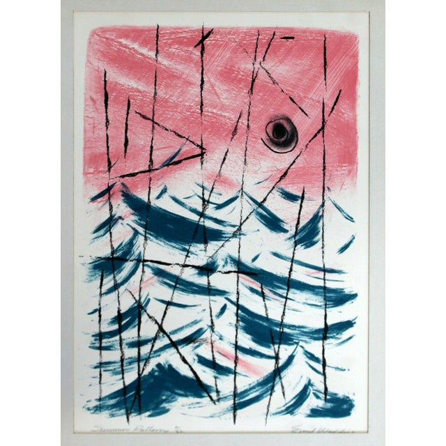 """For your consideration is an unframed lithograph oil painting, """"Summer Patterns,"""" signed by Eddie Weddige. In excellent..."""