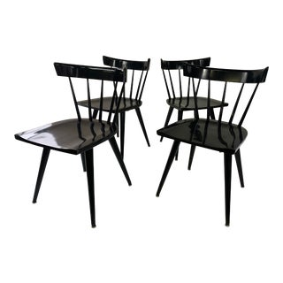 Mid-Century Modern Paul McCobb Black Planner Group Dining Chairs - Set of 4 For Sale