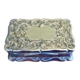 19c Sterling Silver Snuffbox Birmingham 1848 by Rolason Bros For Sale