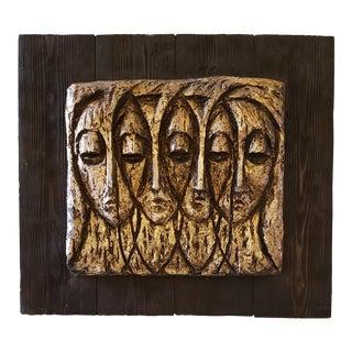 Vintage Mid-Century Original Finesse Brutalist Face Sculpture For Sale