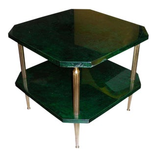 1960s Emerald Green Parchment Coffee Table by Aldo Tura For Sale