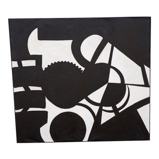 Contemporary Abstract Black and White Acrylic Painting by Kelly Caldwell, Framed For Sale