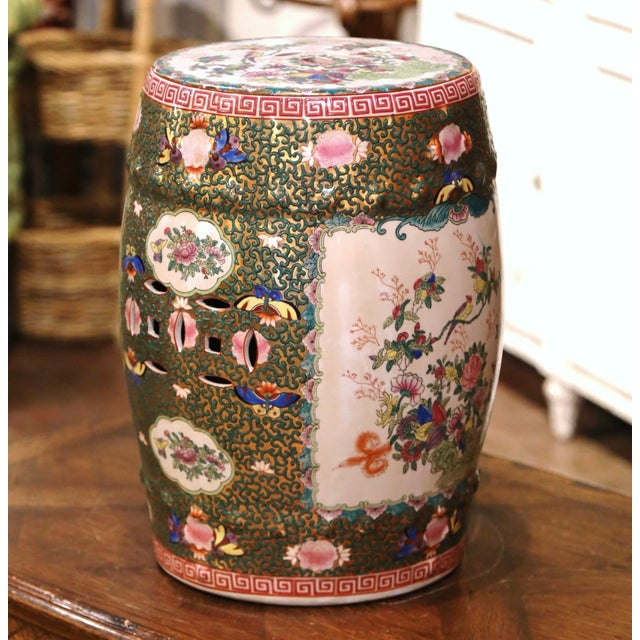 Figurative Mid-Century Chinese Porcelain Garden Stool With Bird and Floral Decor For Sale - Image 3 of 13