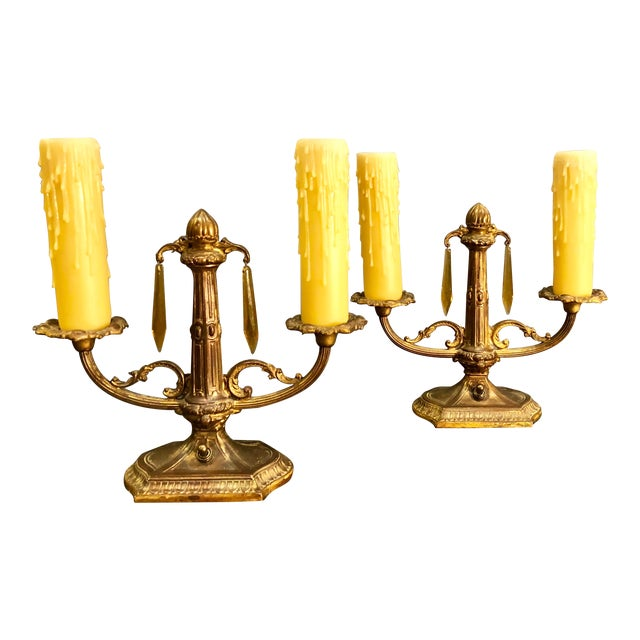 1900s Art Deco Two Arm Candlestick Lamps With Amber Prisms - a Pair For Sale