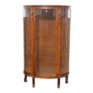 Vintage Hand Made French Country Pine Curio Cabinet Display Case