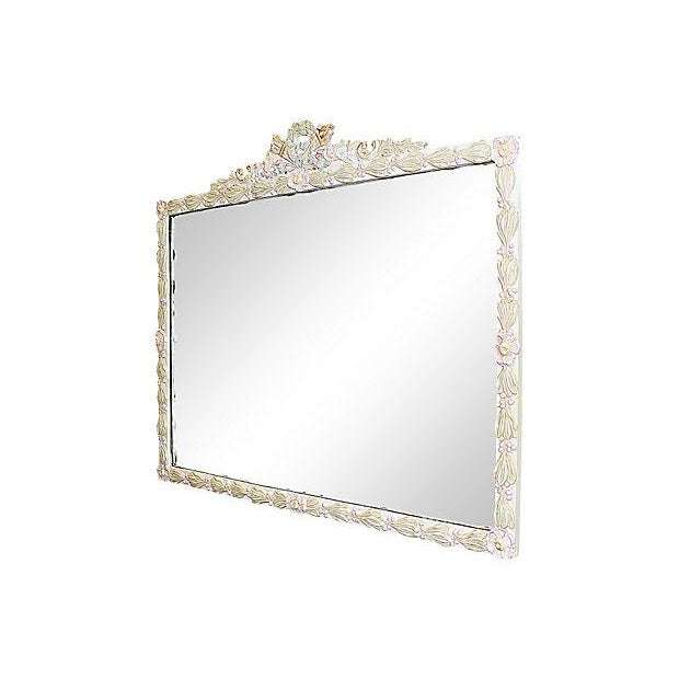 American florally decorated mirror with a Louis XVI-style wreath. It's been freshly finished in Annie Sloan paint and...