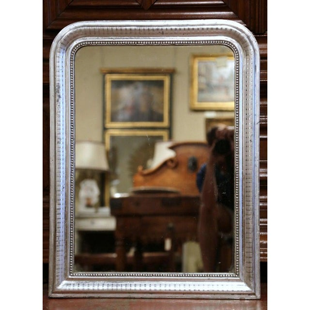 French 19th Century French Louis Philippe Silver Leaf Mirror With Engraved Stripe Decor For Sale - Image 3 of 7