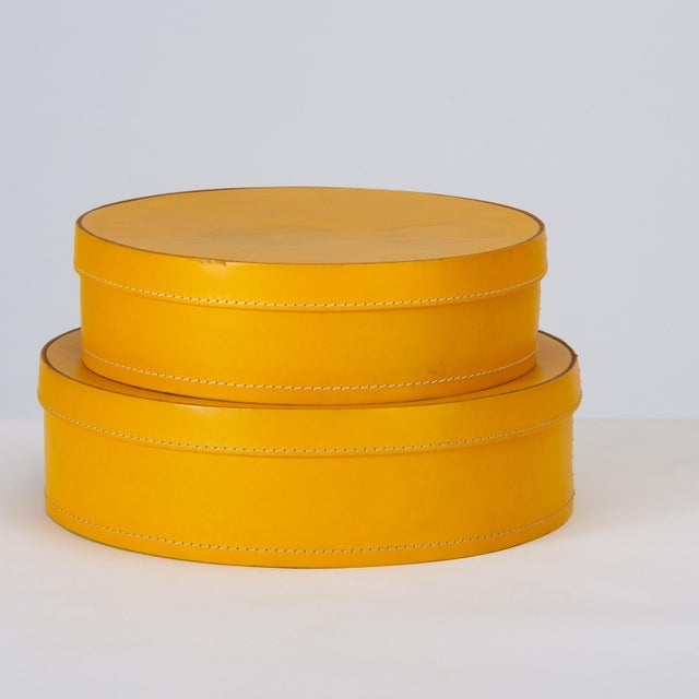Round Leather Nesting Boxes by Arte Cuoio & Triangolo - A Pair For Sale - Image 4 of 13