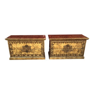 Rococo Style Gold Gilt Custom Nightstands - a Pair