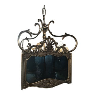 Mid-Century Spanish Brass Pendant Swag Light With Blue Stained Glass For Sale