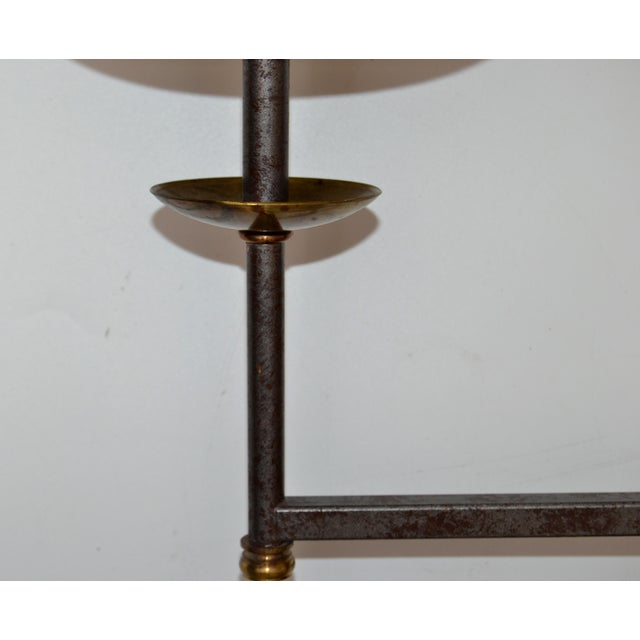French Mid-Century Modern Metal & Brass Swing Arm Sconces, Wall Lights - Pair For Sale - Image 9 of 13