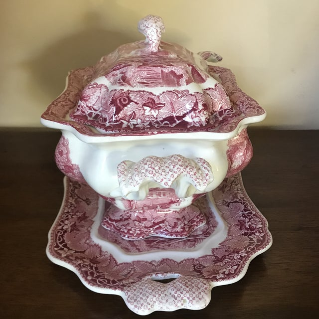 Mason's Ironstone Masons Vista England Red Transferware Ironstone Tureen With Ladle and Underplate For Sale - Image 4 of 13